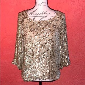 Roberta Freymann Champagne Sequined Blouse